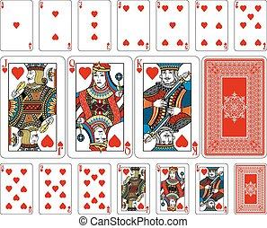 hart, keerzijde, spelend, grootte, kaarten, plus, brug