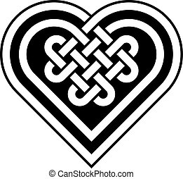 hart, keltisch, vorm, knoop