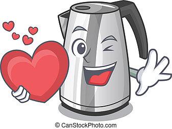 hart, ketel, elektrisch, keuken, mascotte
