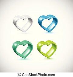hart, kleurrijke, set, frame, vector, 3d
