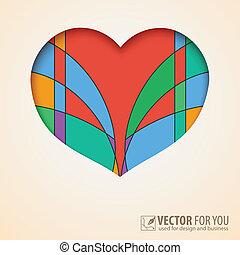 hart, knippen, papier kleurde, achtergrond, abstract, uit