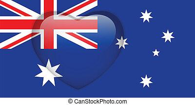 hart, knoop, australië vlag, glanzend