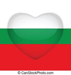 hart, knoop, bulgarije vlag, glanzend