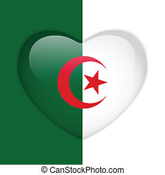 hart, knoop, vlag, algerije, glanzend