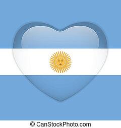 hart, knoop, vlag, argentinië, glanzend