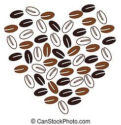 hart, koffie boon