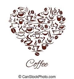 hart, koffie, coffeehouse, poster, koffiehuis, vector, koppen