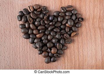 hart, koffie, gemaakt, bonen, geroosterd