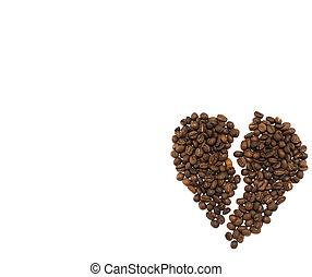 hart, koffie, gemaakt, brocken, bonen, geroosterd