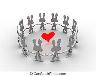 hart, konijnen