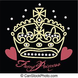 hart, kroon, illustratie