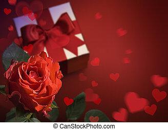 hart, kunst, groet, rozen, rode kaart