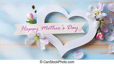hart, kunst, moeders, bloemen, dag, kaart, vrolijke