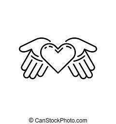 hart, kunst, palmen, eenvoudig, illustratie, vector, lijn, open