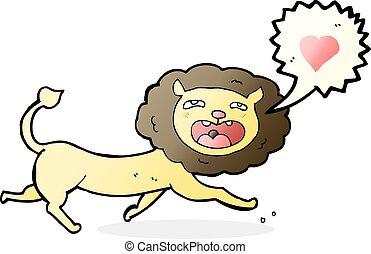 hart, leeuw, liefde, spotprent