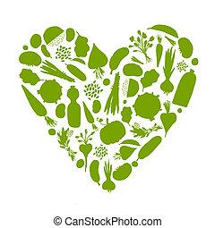 hart, leven, gezonde , groentes, -, vorm, ontwerp, jouw