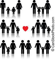 hart, leven, set, gezin, zwart rood, pictogram