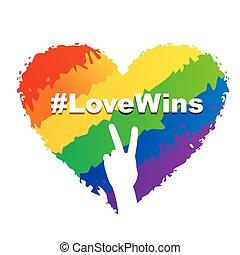 hart, lgbt, -, liefde, winnen