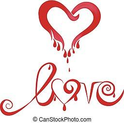 hart, liefde, bloed, logo