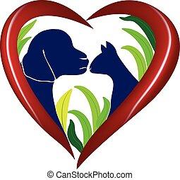 hart, liefde, dog, kat, vector, logo