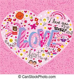 hart, liefde, doodle
