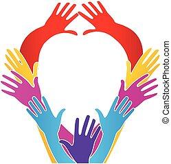 hart, liefde, eenheid, vorm, handen, logo