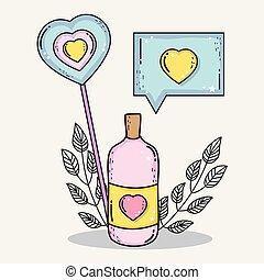 hart, liefde, fles, pillen, praatje, boodschap, bel, lollipop