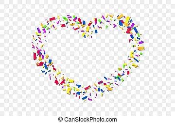 hart, liefde, frame, herfst, valentijn, vakantie, grens, design., card., vrijstaand, transparant, achtergrond., wit rood, illustratie, confetti, trouwfeest, confetti, dag, versiering, romantische, valentines, heart-shape., vector