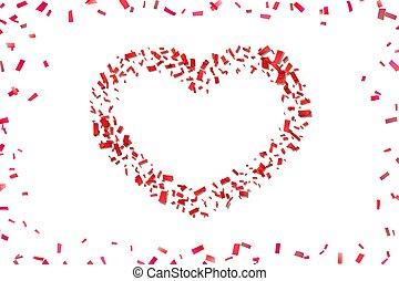 hart, liefde, herfst, valentijn, vakantie, grens, design., card., vrijstaand, achtergrond., wit rood, frame., illustratie, confetti, trouwfeest, confetti, dag, versiering, romantische, valentines, groet, heart-shape., vector