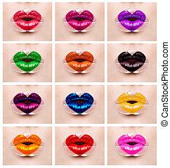 hart, liefde, kleurrijke, makeup, lippen, vakantie