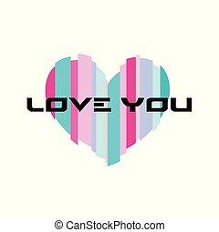 hart, liefde, kleurrijke, valentines, vrijstaand, dag, boodschap, u, vrolijke