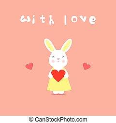 hart, liefde, konijn, kaart