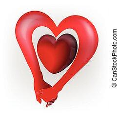 hart, liefde, paar, vorm, holdingshanden, logo