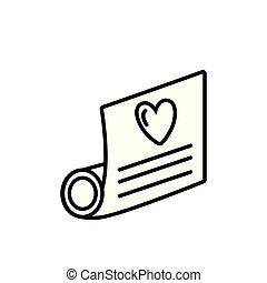 hart, liefde, perkament