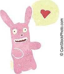 hart, liefde, retro, konijn, spotprent