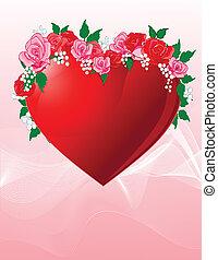 hart, liefde, rozen