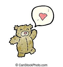 hart, liefde, spotprent, beer