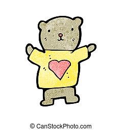 hart, liefde, spotprent, beer, teddy
