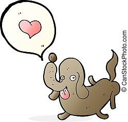 hart, liefde, spotprent, dog