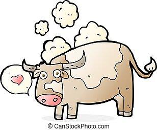 hart, liefde, spotprent, koe