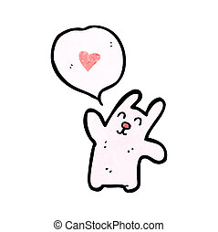 hart, liefde, spotprent, konijn