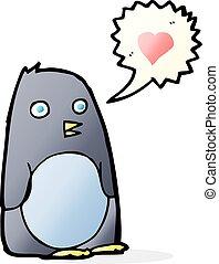 hart, liefde, spotprent, penguin