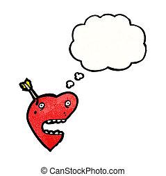 hart, liefde, spotprent, richtingwijzer