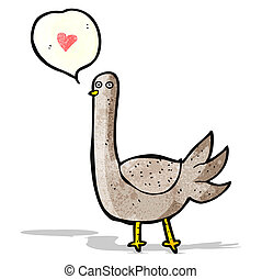 hart, liefde, spotprent, vogel