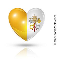 hart, liefde, stad, vlag, vatican, pictogram