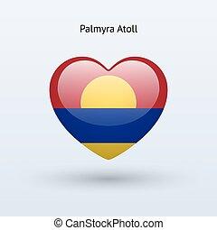 hart, liefde, symbool., vlag, icon., palmyra, atol