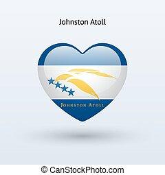 hart, liefde, symbool., vlag, johnston, icon., atol