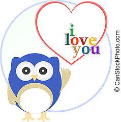 hart, liefde, uil, schattig
