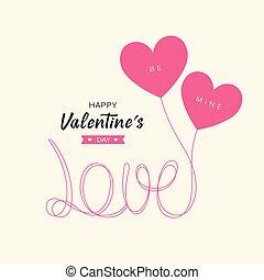 hart, liefde, valentine, boodschap, ballons, dag, vrolijke