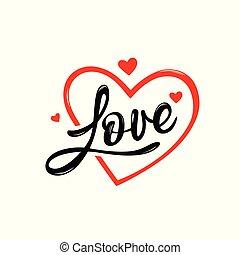 hart, liefde, valentines, boodschap, dag, rood, vrolijke